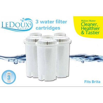 Ledoux Waters 3-Pack Filter 4-Stage Filtration Universal Filter Cartridge For Pitcher