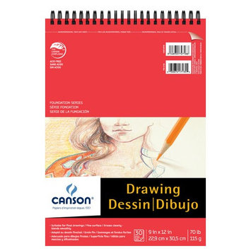 Canson C100510978 9 in. x 12 in. Foundation Drawing Pad
