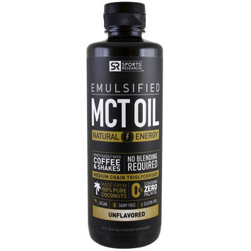 Sports Research, Emulsified, MCT Oil, Unflavored, 16 fl oz (473 ml) [Flavor : Unflavored]