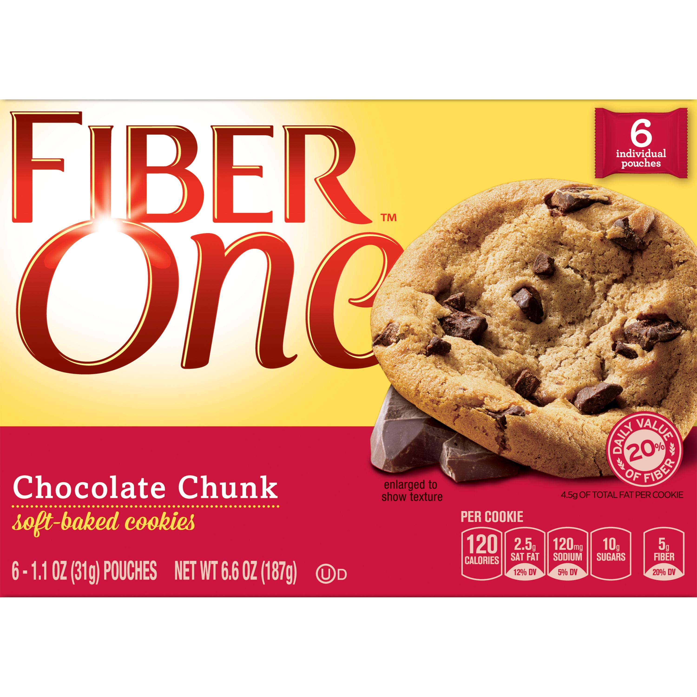 Fiber One Soft-Baked Cookies, Chocolate Chunk, 6.6 oz.
