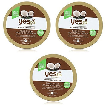 Yes To Coconut Hydrate & Restore Head-to-toe Restoring Balm, 3 Oz (Pack of 3) + FREE Scunci Black Roller Pins, 18 Pcs
