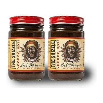 The Shizzle VooDoo Hot Jerk Marinade (Two Pack) – 14 Ounce Jar – Authentic Island Flavor w/ Pineapple Base – Spicy Rub – NO MSG, Corn Syrup, Preservatives – Sauce for Chicken, Pork, Etc