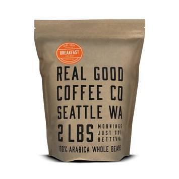 Real Good Coffee Co 2LB, Whole Bean Coffee, Breakfast Blend Light Roast Coffee Beans, 2 Pound Bag [Breakfast Blend Light]