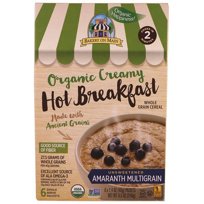 Bakery On Main, Organic, Creamy Hot Breakfast, Unsweetened Amaranth Multigrain, 6 Packets, 1.4 oz (40 g) Each [Flavor : Unsweetened Amaranth Multigrain]