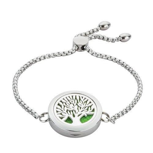Jenia Essential Oil Diffuser Bracelet Stainless Steel Bangle - Tree of Life Fragrance Locket Aromatherapy Jewelry Birthday Gift for Women, Teens Girls, Kids, Men, Boys