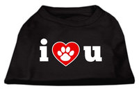 Mirage Pet Products 5155 MDBK I Love U Screen Print Shirt Black Med 12