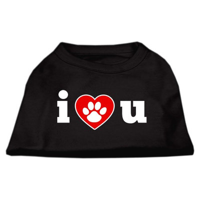 Mirage Pet Products 5155 LGBK I Love U Screen Print Shirt Black Lg 14