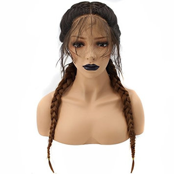 Anogol Hair Cap+Long Double Braids Black Ombre Brown Synthetic Braided Lace Front Wig with Baby Hair Wigs
