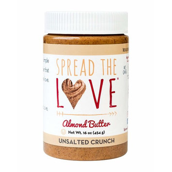 Spread The Love UNSALTED CRUNCH Almond Butter, 16 Ounce, All Natural, Vegan, Gluten Free, Creamy, No Added Salt or Sugar, No Palm Fruit Oil, Not...