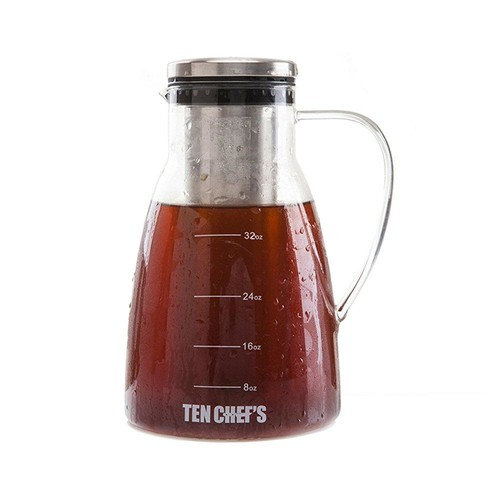 one day sale- cold brew coffee maker and iced tea maker (32 oz) - 1 quart premium brewing glass pitcher with removable stainless steel filter and no-slip base - use with coffee beans by tenchef's !