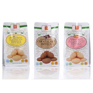 Biscotti Bite Size Cookies by The Bites Company- Premium, Certifies Organic and Kosher, Peanut and Preservative Free – 4.5 Oz. bag Variety Pack – Almond, Lemon, Chocolate Flavors (Pack of 3)