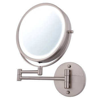 Ovente Wall Mount Makeup Mirror, Battery Operated LED Lighted, 1x/7x Magnification, 8.5 inch, Nickel Brushed (MFW85BR1x7x)
