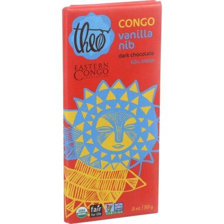 Theo Chocolate Organic Vanilla Nib Dark Chocolate, 70% Cacao, 3 oz