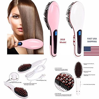 Electric Hair Straightener Comb LCD Auto Temperature Control Iron Brush Massager Pink