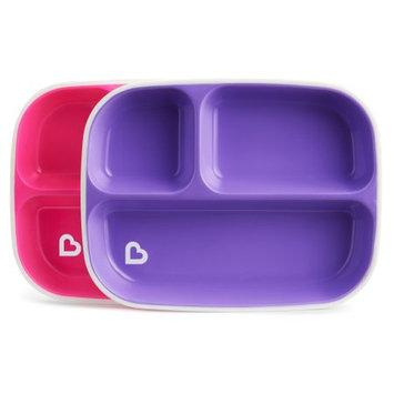 Munchkin Splash Toddler Divided Plates, 2 Pack Pink/purple
