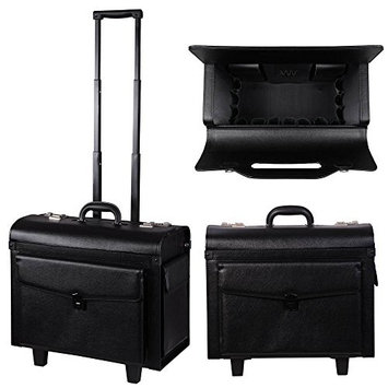 MegaBrand Rolling PVC Hair Salon Stylist Makeup Cosmetic Case Black