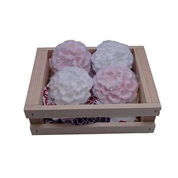 Gift Set of 4 Handcrafted Peony Soaps in Reusable Wooden Crate - made in New England