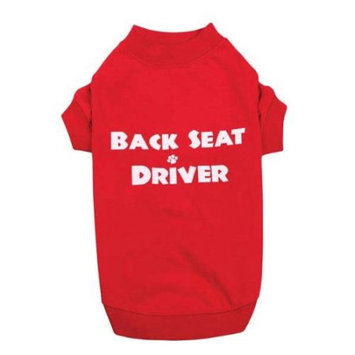 Petedge ZM3572 12 83 Casual Canine Back Seat Driver Tee Sm Red