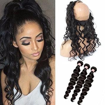 Ruma Hair Malaysian Hair Loose Deep Wave Ear To Ear 360 Lace Frontal Closure With Bundles Full Frontal Lace Band Closure With Human Hair Weaves (10 with 10 12 14)
