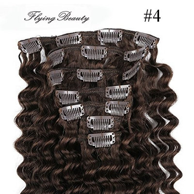 Deep Curl Deep Wave Brown Brazilian Clip in Hair Extensions 100% Remy Human Hair 20 Inches(50cm) 80g 7pcs/set, Color (#4 medium brown)