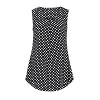 Women's Vintage Sleeveless V Neck Pleated Chiffon Polka Dot Tank Top Vest