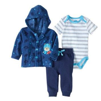 Bon Bebe Newborn Baby Boy Microfleece Jacket, Bodysuit & Pant 3pc Outfit Set