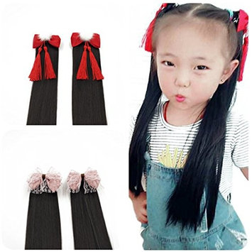 Princess Synthetic Hair Ponytail Extensions with Bowtie Clip on Pony Tails Hairpiece for Baby Girls