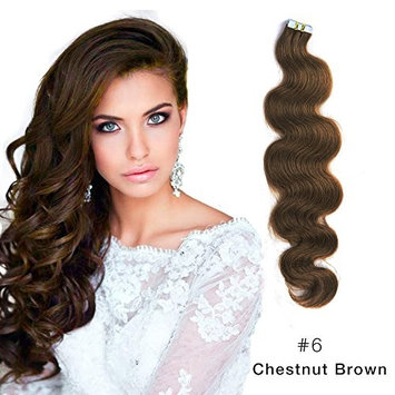 Body Wave Tape in Hair Extensions Remy Human Hair Glue in Extensions Seamless Skin Wefts Light Brown (#6) 22