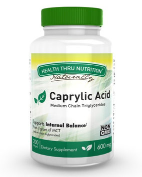 Health Thru Nutrition Caprylic Acid 600mg (200 Softgels) Medium Chain Triglycerides