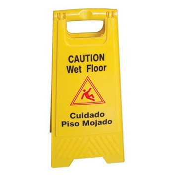 Excellante Wet Floor Caution Sign, Yellow, 24-Inch by 12-Inch Fold Up, Plastic