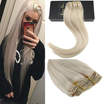 Sunny 20inch Clip in Hair Extensions Blonde Platinum Blonde #60 Full Head Clip On Hair Extensions 7pcs/120g Per Package []