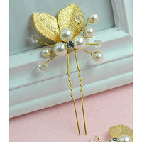 [5 packed] Wholesale Gold Hand-Painted Leaves Pearl Hair Pin Wedding Bridal Bridesmaids Hair Makeup Accessories : Beauty