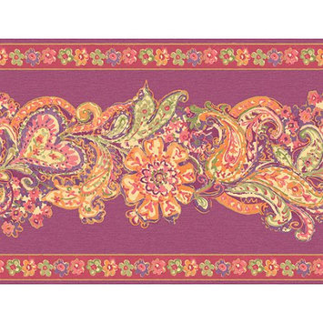 Blue Mountain Wallcoverings Blue Mountain Paisley and Floral Panel Wallcovering, Magenta/Orange/Green