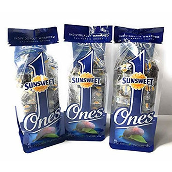 Sunsweet Ones Individually Wrapped Pitted Prunes - 3 Packages (each package is 6 ounces) PLUS Our Prune Recipe E-Book (Downloadable)