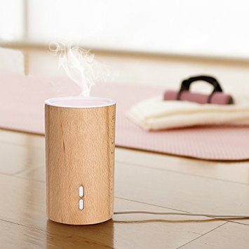 Wooden Essential Oil Diffuser -75ml Ultrasonic Mist Humidifier -7 Color LED Lights Aroma Diffuser and Waterless Auto Shut-Off for Home and Car.