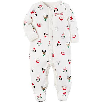 Cotton Snap-Up Christmas Sleep & Play