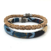 Set of 2 Native Blue Fabric and Natural Cork Aromatherapy Diffuser Bracelets with Magnetic Clasp by Simply Cork