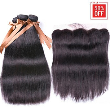 ALLRUN Hair Brazilian Straight Hair 3 Bundles With Frontal Closure 13x4 Ear To Ear Lace Frontal With Bundles Unprocessed Virgin Human Hair Extensions...