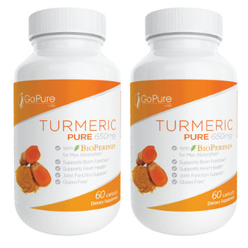 Go Pure Labs 2 Pack - Go Pure Turmeric Curcumin with Bioperine - 120 Count