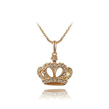 CTrend Crystal Necklace Rose Gold Crown Pendant Wedding Gift E005