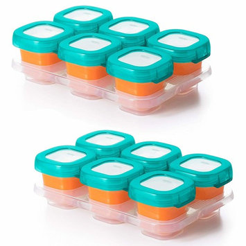 OXO TOT Baby Blocks Food Storage Containers, Teal, 2 Ounce - Set of 2