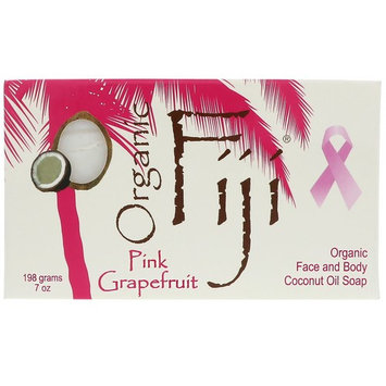 Organic Fiji, Organic Face and Body Coconut Oil Soap Bar, Pink Grapefruit, 7 oz (198 g) [Scent : Pink Grapefruit]