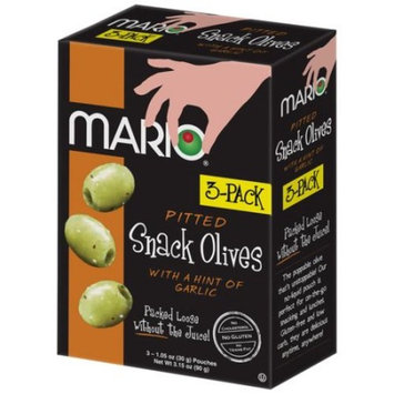 Mario Pitted Snack Olives with a Hint of Garlic, 1.05 oz, 3 count