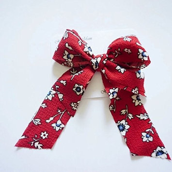 Red Floral Hair Clip for Girls and Teens (NEW AND HANDMADE) (A Fully Wrapped)