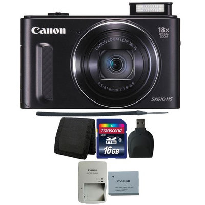 Canon PowerShot SX610 HS 20.2MP 18x Optical Zoom Wifi Digital Camera BLACK with 16GB Memory Card, Wallet and Reader