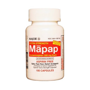 MAJOR MAPAP 500MG CAPS UNBOXED ACETAMINOPHEN-500 MG Red/White 100 CAPS UPC