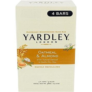 Yardley of London Naturally Moisturizing Bar Soap Oatmeal & Almond 3+1 Free