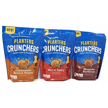 Variety Pack - Planters Crunchers Crispy Coated Peanuts (7oz) - Mesquite Barbecue, Hot N Spicy, Cinnamon Brown Sugar