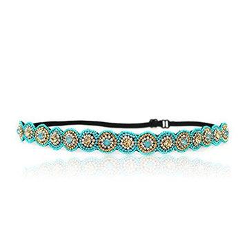 Turquoise Blue Rhinestone Headband, Fashion, Bohemian, Beach, Rhinestones Adjustable Stretch Band