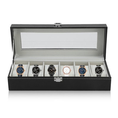 Fashion 6 Grid Casket Watch Winder Boxes PU Leather Storage Watch Case